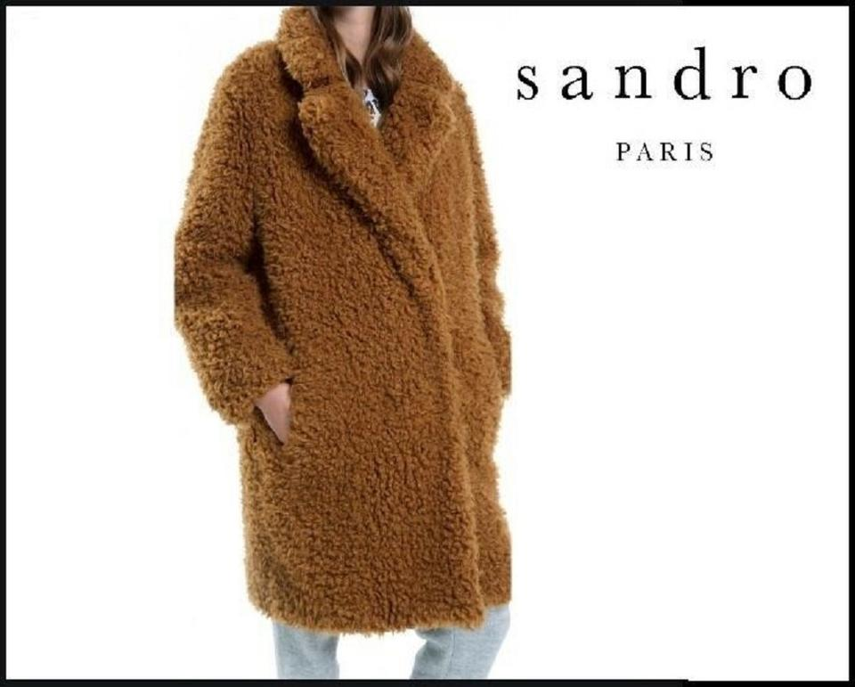 best wholesaler largest selection of most reliable Sandro Brown Teddy Bear Long Thick Faux Fur Maca Jacket S) Coat Size 4 (S)