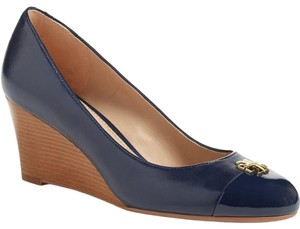 Tory Burch Leather Pump Jolie 65mm Perfect Navy Wedges