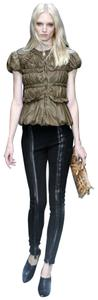 Burberry Prorsum Leather Runnway Skinny Pants Black