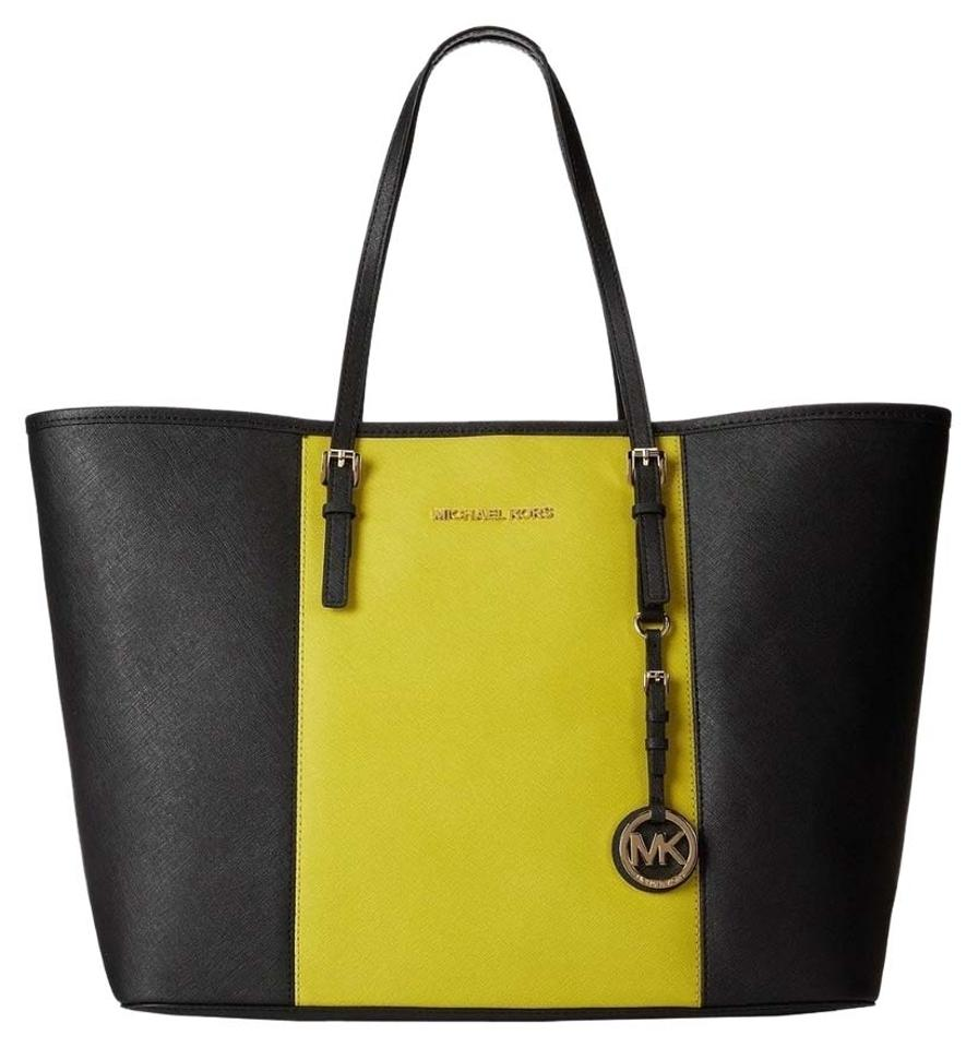 35aa0dccf1e0 Michael Kors Jet Set Large Black/Apple Saffiano Leather Tote - Tradesy