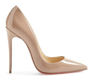 Christian Louboutin Stiletto Patent Leather Leather Nude Pumps