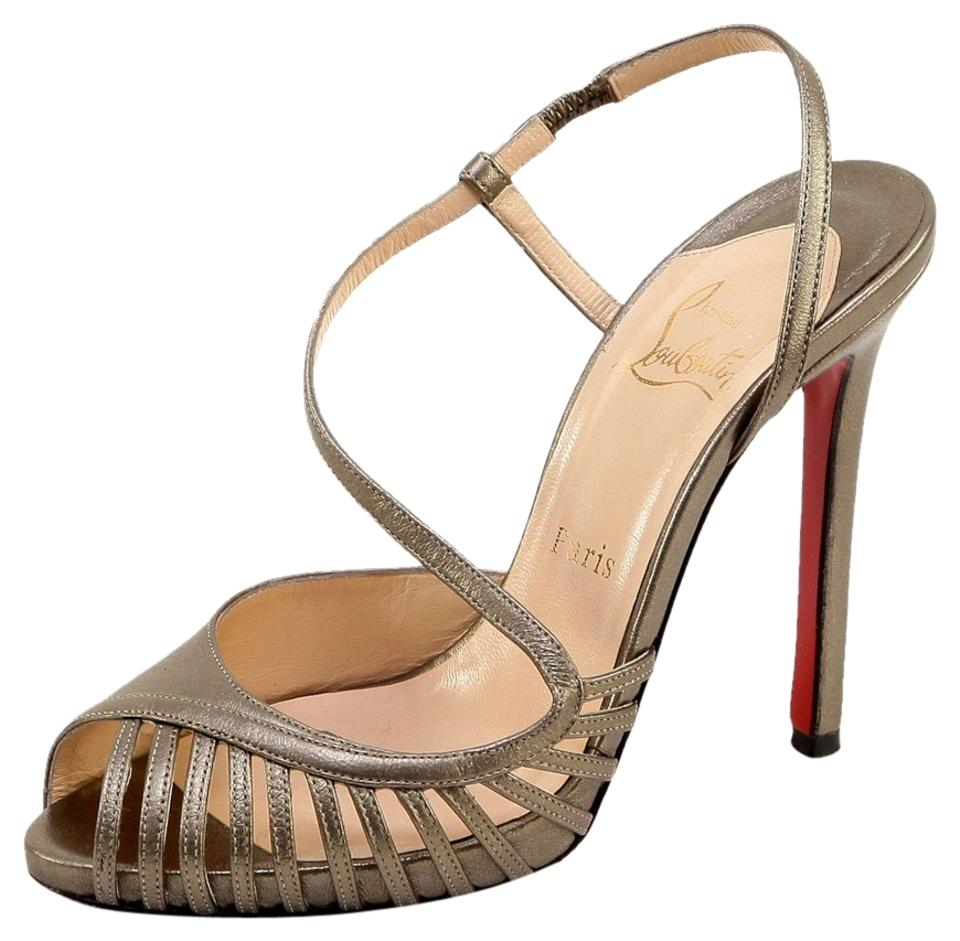 Christian Louboutin Bronze Metallic Leather Platforms Sandal Peep Toe 38 Platforms Leather e39300