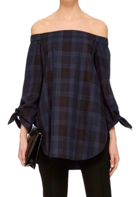 Preload https://img-static.tradesy.com/item/26104845/tibi-navy-and-gray-tibi-s-cult-classic-off-the-shoulder-in-plaid-tunic-size-4-s-0-3-650-650.jpg