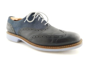 Cole Haan Blue Leather Wing Tip Saddle Style Oxfords Shoes