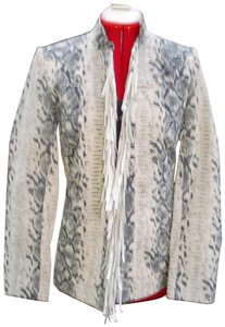 Pamela McCoy Animal Suede Fringed Python Snakeskin Print Leather Jacket