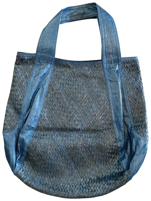 "Beirn ""jenna"" North-south Blue Watersnake Skin Leather Hobo Bag Beirn ""jenna"" North-south Blue Watersnake Skin Leather Hobo Bag Image 1"