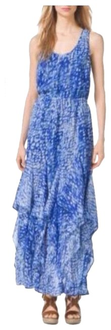 Item - Blue and White Royal Tie Dye Ruffle Tank Long Casual Maxi Dress Size 6 (S)