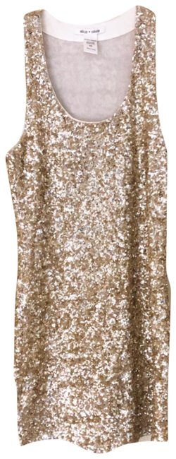 Item - Gold Sleeveless Sequined Mini Short Night Out Dress Size 2 (XS)