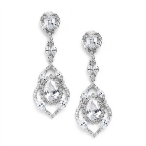 Silver/Rhodium Glamorous Crystal Couture Earrings