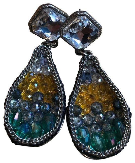 Item - Black Blue Green and Yellow Bold Statement Earrings