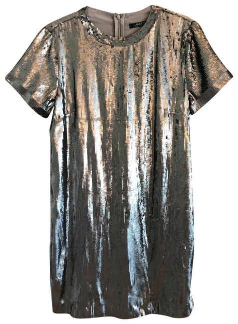 Item - Silver Mid-length Night Out Dress Size 14 (L)