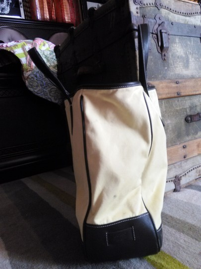 Coach Tote in light yellow.. black leather trim Image 2