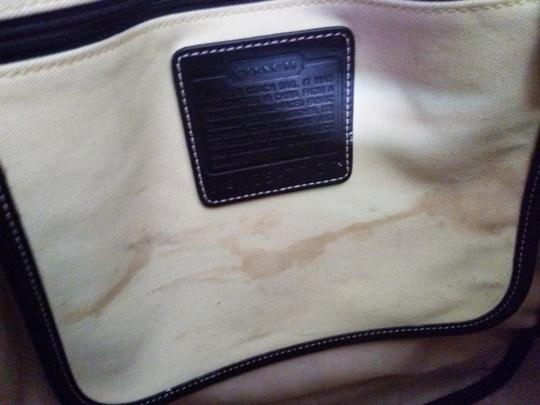 Coach Tote in light yellow.. black leather trim Image 5