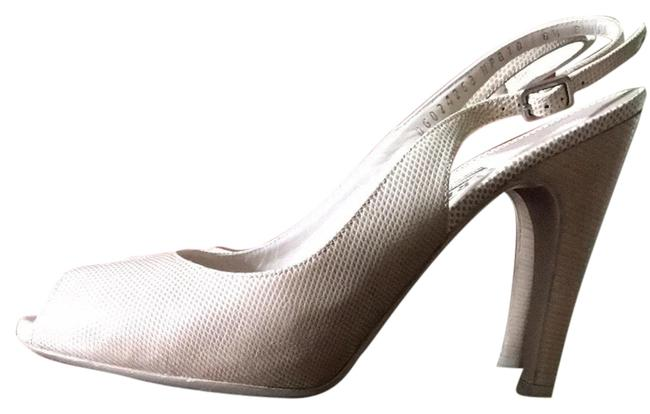 Item - Bisque Giglio Reptile Slingback Peep Toe Pumps Platforms Size US 8.5 Regular (M, B)