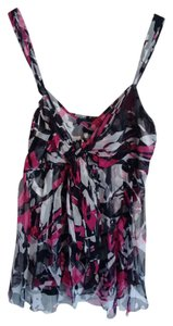 Karen Kane Flowy Silk Top Black, Pink, and White
