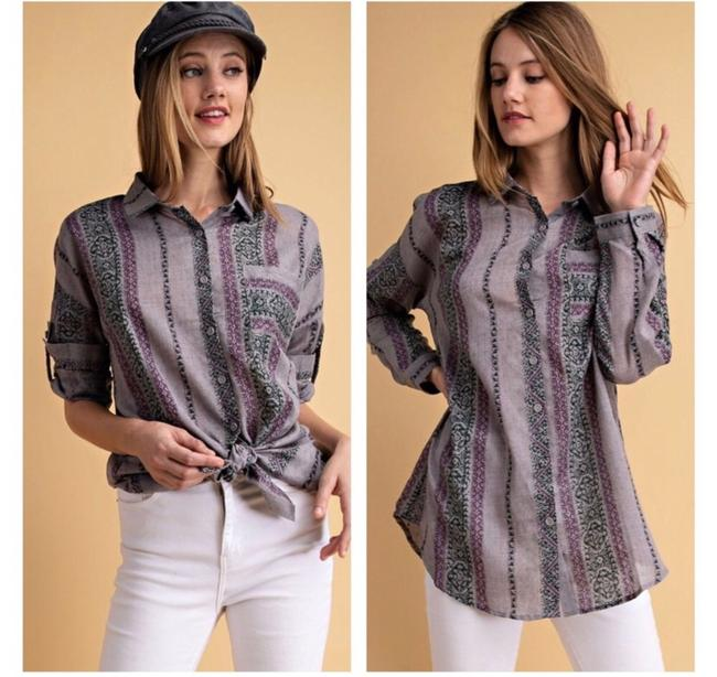 Item - Grey Multi Abstract Button-down Top Size 8 (M)