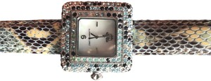 JLo JLO Ladies Crystal Set Navy and light blue Leather watch