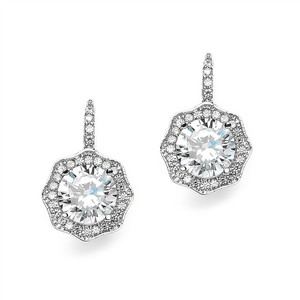 Mariell Silver 3 Ct Cubic Zirconia Vintage Hexagon Drop 3985e Earrings