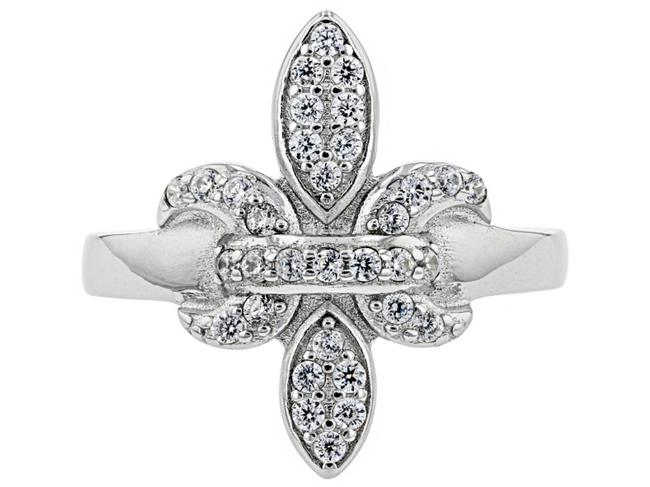 Top Gold & Diamond Jewelry White Simulant Platinum On Sterling Silver Fleur-de-lis Ring Top Gold & Diamond Jewelry White Simulant Platinum On Sterling Silver Fleur-de-lis Ring Image 1