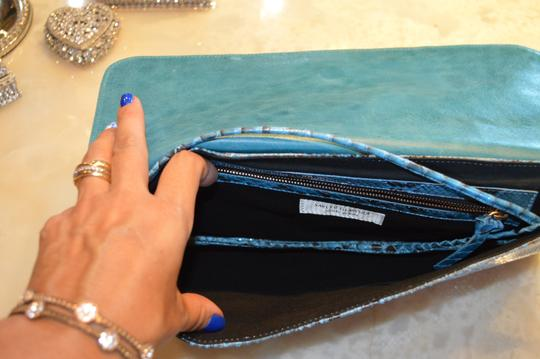 Saks Fifth Avenue Turquoise/Black Clutch Image 2