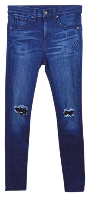 Item - Blue Distressed And Bone/Jean '10 Inch' #106-2 Skinny Jeans Size 28 (4, S)
