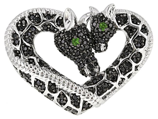 Item - Black Green Silver Mined Genuine Spinel Chrome Diopside Platinum On 925 Ss Ring