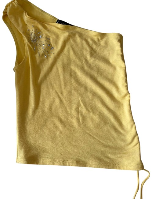 Item - XS On Shoulder Ruched Bling Shirt Yellow Top