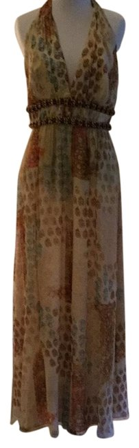 Item - Blue Pink Beige Tan Silver Cocktail Long Night Out Dress Size 8 (M)