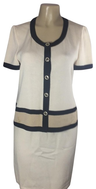 Item - Cream Tan Black Couture Evening Skirt Suit Size 6 (S)