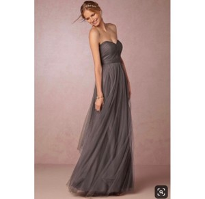 Jenny Yoo Gray Tulle Annabelle Formal Bridesmaid/Mob Dress Size 2 (XS)