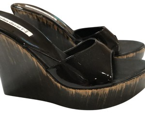 Charles by Charles David black patent leather with tints of gold Wedges