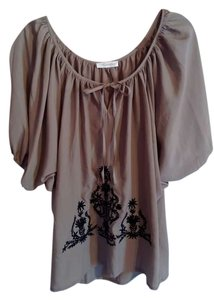 Sugarlips Embroidered Top Khaki color with Black detail