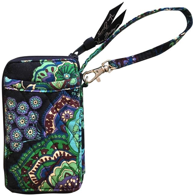 Item - Navy Blue and Green Cloth Wristlet