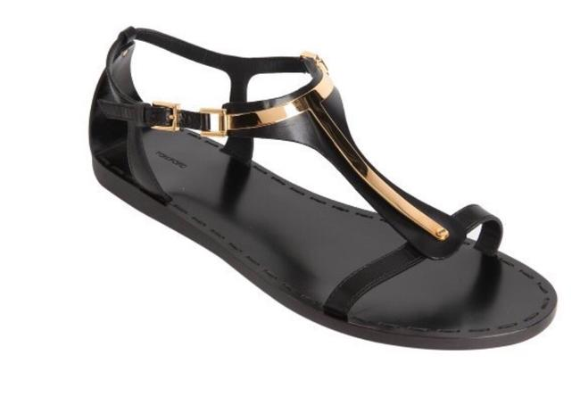 Item - Leather and Gold Metal T Strap Sz6 Sandals Size US 6 Regular (M, B)