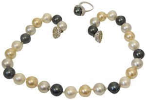 Pearlfection Pearlfection Faux Multi-Color South Sea Pearl Necklace and Ring Set 7