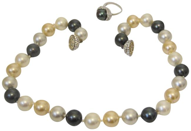 Item - Faux Multi-color South Sea Pearl and Ring Set 7 Necklace