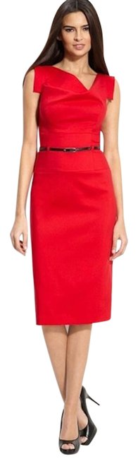 Item - Red New Classic Belt Jackie O Sheath Mid-length Night Out Dress Size 4 (S)