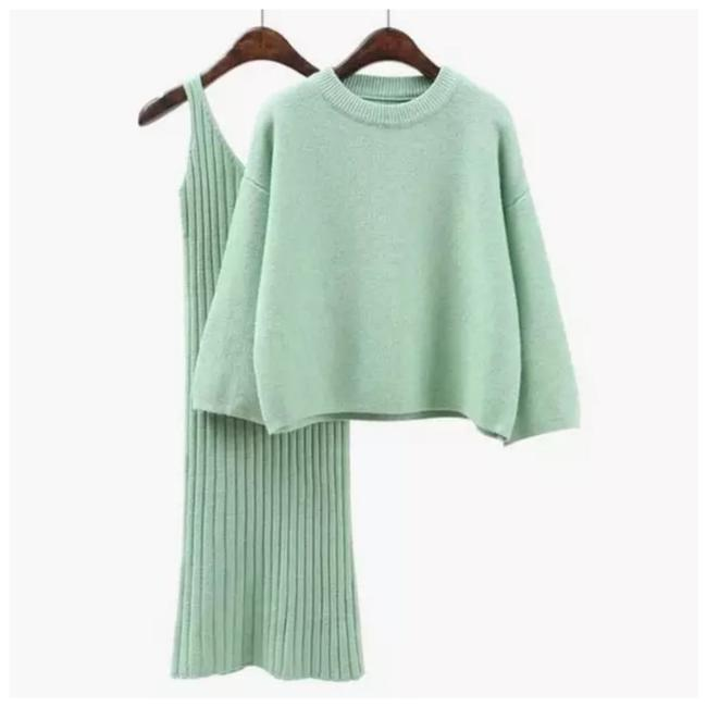 Item - Mint Green Handmade Soft 2 Piece Sweater Mid-length Short Casual Dress Size OS (one size)