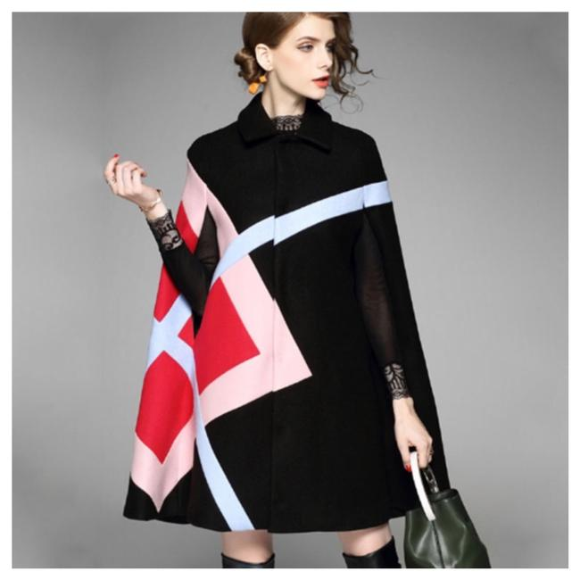 Item - Black Pink Red Cashmere Blend Abstract Poncho/Cape Size OS (one size)