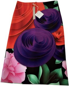 Clover Canyon Purple Rose Pencil Career Night Out Skirt FLORAL
