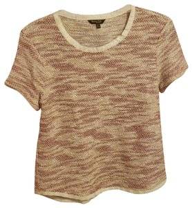 Massimo Dutti Tweed Top Cream Burgundy Gold
