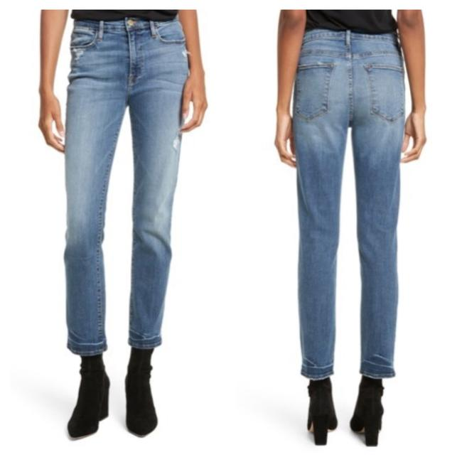 Item - Blue Medium Wash Le High Waisted Crop Distressed Whitwell Straight Leg Jeans Size 8 (M, 29, 30)