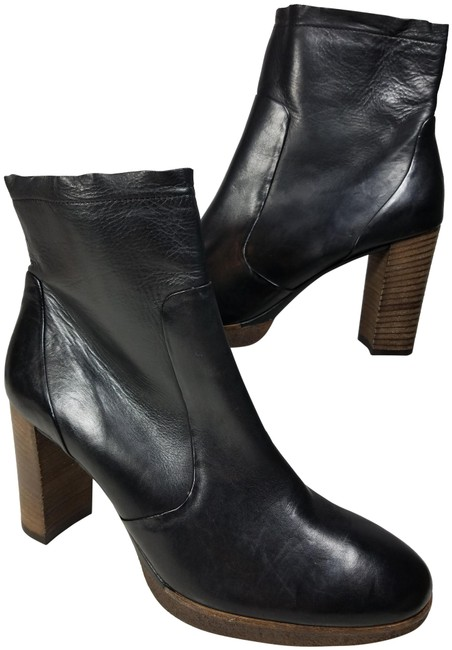 Item - Black Women Ankle Leather Heel Platform Zipper Boots/Booties Size US 9.5 Regular (M, B)