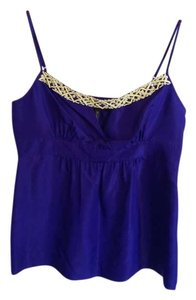 BCBGMAXAZRIA Silk Beaded Sequin Top Blue and Yellow