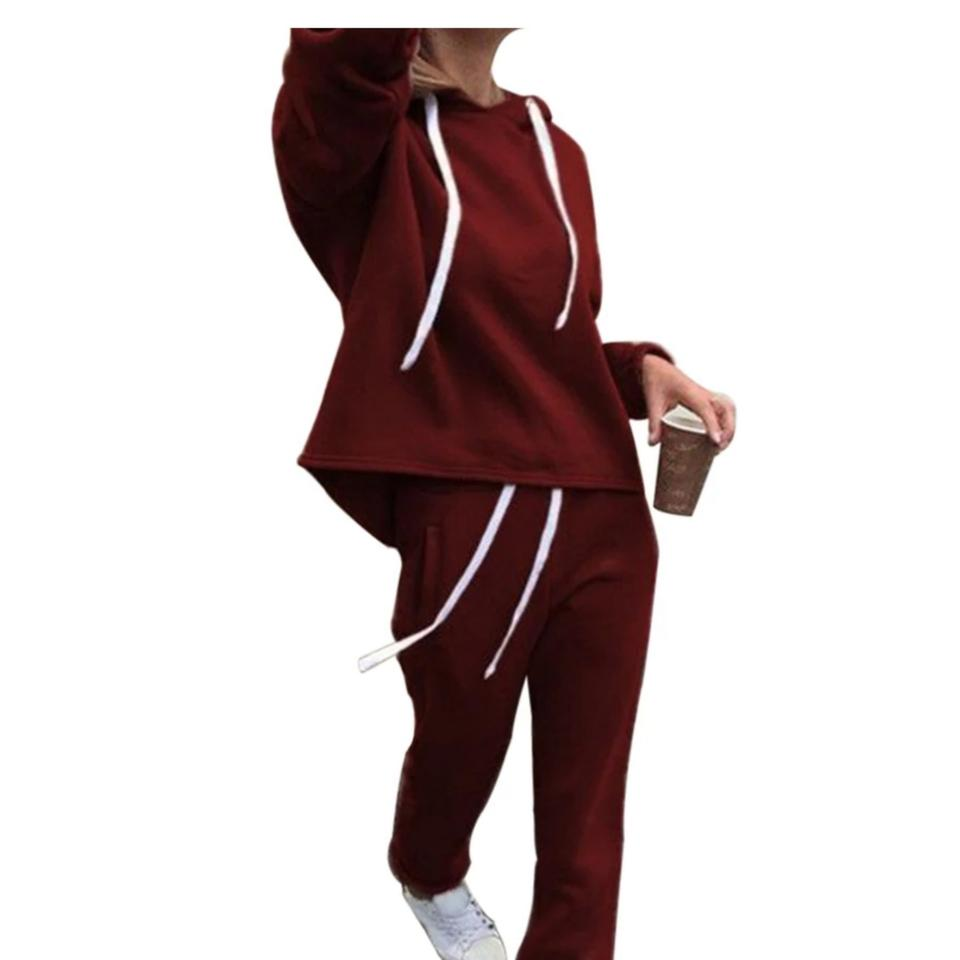 edited Women Casual Hooded Long Sleeve Pockets Hoodie Wine Red