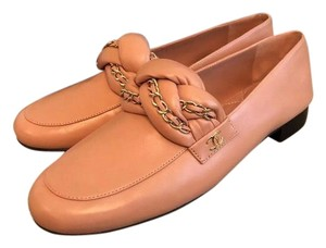 Chanel Leather Loafers Flats Pink Sandals