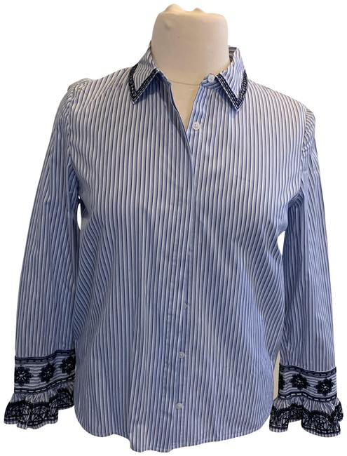 Item - Striped Cotton with Embroidery Button-down Top Size 12 (L)