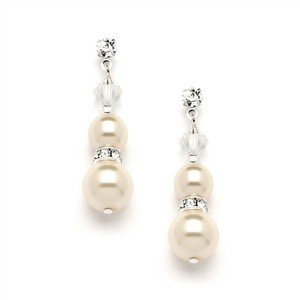 Mariell Double Ivory Pearl Dangle Earrings With Rondels & Stud Top 4080e-i-cr-s