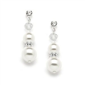 Mariell Double White Pearl Dangle Earrings With Rondels & Stud Top 4080e-w-cr-s