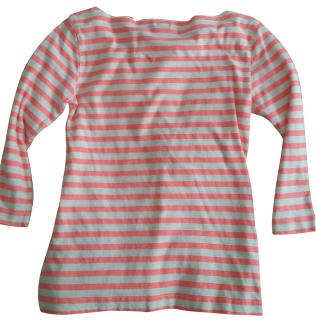 J.Crew Neon Coral and White Painter Long Sleeve Stripe Tee Shirt Size 00 (XXS) J.Crew Neon Coral and White Painter Long Sleeve Stripe Tee Shirt Size 00 (XXS) Image 1